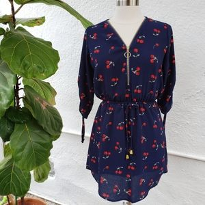 J for Justify Navy & Red Cherry Zip Up Dress Small